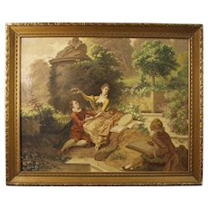 19th Century Italian Signed Painting Romantic Scene