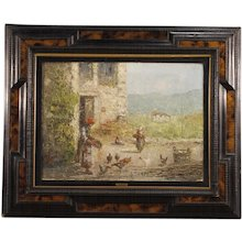 20th Century Italian Rural Landscape Signed Painting Oil On Canvas