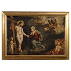 18th Century Antique Religious Painting Oil On Canvas Christ With Virgin And Angels