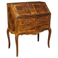 20th Century French Inlaid Bureau Desk Decorated With Bronzes