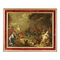 19th Century Antique Dutch Religious Oil Painting
