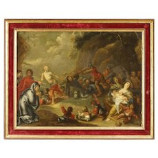 19th Century Antique Dutch Religious Oil Painting