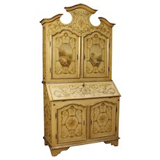 20th Century Venetian Lacquered, Painted and Gilt Trumeau In Wood