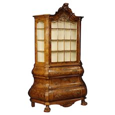 20th Century Dutch Vitrine In Burl Walnut