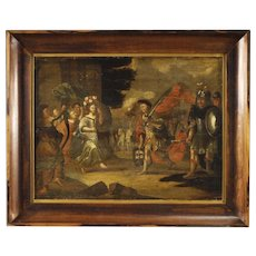 18th Century Flemish Religious Painting Oil on Panel David's Triumph