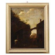 18th Century Dutch Landscape Painting Oil On Canvas
