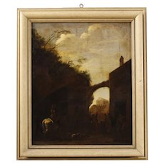 18th Century Dutch Landscape Painting Oil On Canvas