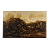 20th Century Italian Painting Oil On Canvas Landscape With Ruins And Characters