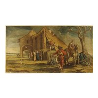 18th Century Antique Italian Painting Oil On Canvas Landscape With Characters