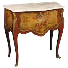 20th Century French Commode In Rosewood With Marble Top And Gilt Bronze
