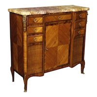 20th Century French Sideboard in Wood With Gilt Bronzes With Marble Top