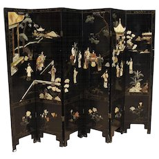 20th Century French Lacquered Chinoiserie Screen In Wood Room Divisor
