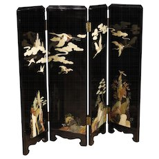 20th Century French Screen In Lacquered Chinoiserie Wood