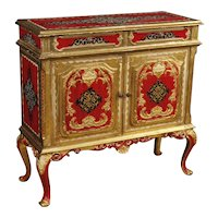 20th Century Italian Sideboard In Lacquered And Gilt Wood With 2 Doors and 2 Drawers