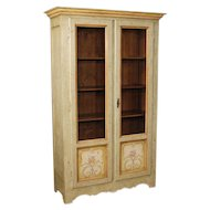 20th Century Italian Display Cabinet In Lacquered and Painted Wood With Floral Decorations