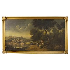 19th Century Italian Painting Landscape with Characters and Architectures Oil On Canvas