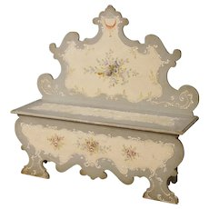 20th Century Venetian Bench In Lacquered and Painted Wood with Floral Decorations