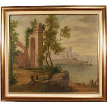 20th Century Italian Seascape with Ruins and Characters Painting Oil On Canvas