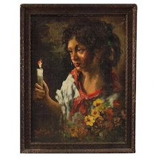 20th Century Italian Painting Gipsy Portrait Signed and Dated Oil on Masonite