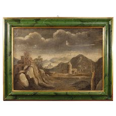18th Century Antique Italian Landscape Painting With Architectures Oil On Canvas