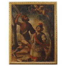 18th Century Italian Religious Painting Oil On Canvas Martyrdom of Saint Alexander from Bergamo