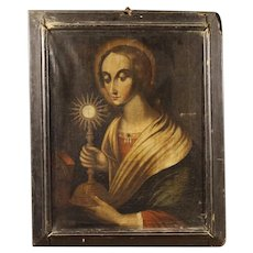 18th Century Religious Italian Painting Oil On Canvas