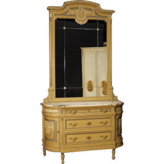 20th Century Italian Dresser With Mirror In Lacquered Wood In Louis XVI Style