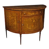 20th Century Italian Demilune Sideboard In Inlaid Wood In Louis XVI Style