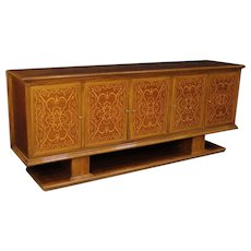 20th Century Italian Sideboard Inlaid In Walnut, Maple and Mahogany Wood