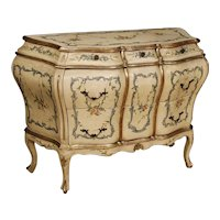 20th Century Venetian Dresser in Lacquered, Painted and Silvered Wood