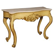 20th Century Italian Console Table In Lacquered And Gilt Wood With Marble Top