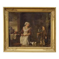 19th Century French Interior Scene Painting Oil On Panel