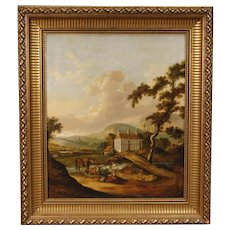 19th Century Dutch Landscape Painting Oil on Canvas