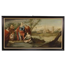 18th Century French Religious Painting Biblical Scene Oil on Canvas