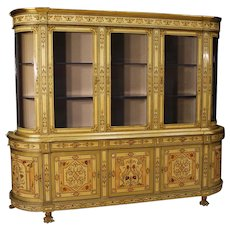 20th Century French Bookcase In Inlaid Wood With Gilt Bronzes