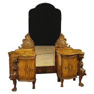 20th Century Italian Cheval Mirror In Walnut and Burl Walnut Wood