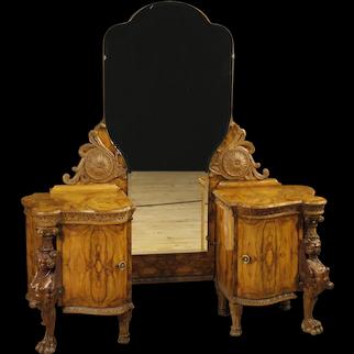20th Century Italian Cheval Mirror In Walnut and Burl Walnut Wood