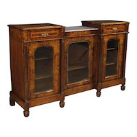 20th Century English Sideboard Inlaid in Burl Walnut, Maple And Rosewood