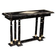 20th Century French Console Table In Lacquered Faux Marble Wood