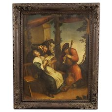 18th Century French Popular Scene Painting Oil On Canvas