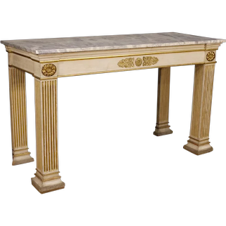 20th Century French Console Table In Lacquered And Gilt Wood In Empire Style