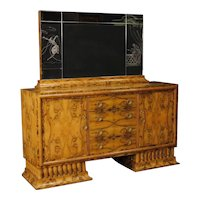 Italian Sideboard With Mirror in Burl Walnut in Art Deco Style