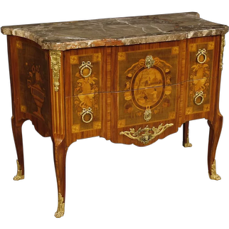 20th Century French Inlaid Dresser With Marble Top In Louis XV Style