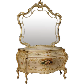 20th Century Venetian Dresser With Mirror in Lacquered, Gilt and Painted Wood