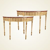 Pair George III painted and gilt pier tables, in the manner of Robert Adam