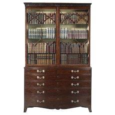 Regency Period Fiddleback Mahogany Bookcase