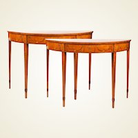 A Pair of Irish George III Period Satinwood and Marquetry Pier Tables, in the manner of William Moore of Dublin