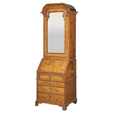 George I Period Burl Walnut and Feather Banded Bureau Cabinet
