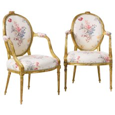 A Pair of George III Period Giltwood Salon Chairs in the manner of John Linnell