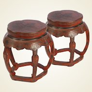 A Pair of Chinese Red Incised Lacquer Stools